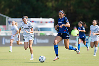CARY, NC - SEPTEMBER 12: Lynn Williams #9 of the NC Courage dribbles the ball during a game between Portland Thorns FC and North Carolina Courage at Sahlen's Stadium at WakeMed Soccer Park on September 12, 2021 in Cary, North Carolina.