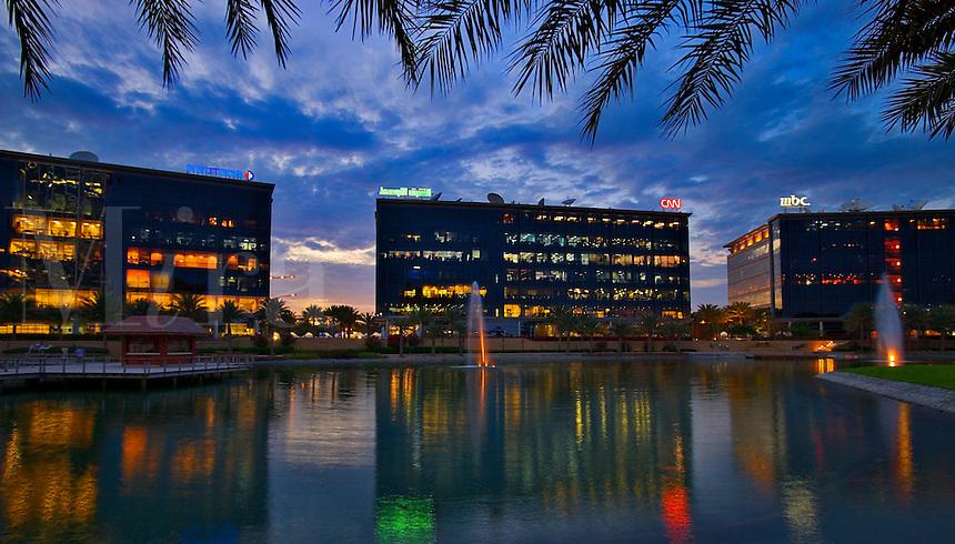 Regional offices of international media companies in Media City, one of the Dubai Free Zones.  Dubai. United Arab Emirates.
