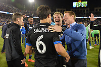 Stanford, CA - Saturday July 01, 2017: Shea Salinas, Florian Jungwirth, Chris Leitch during a Major League Soccer (MLS) match between the San Jose Earthquakes and the Los Angeles Galaxy at Stanford Stadium.