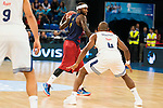 Real Madrid's player Dontaye Draper and FC Barcelona Lassa's player Tyrese Rice during the match of the semifinals of Supercopa of La Liga Endesa Madrid. September 23, Spain. 2016. (ALTERPHOTOS/BorjaB.Hojas)