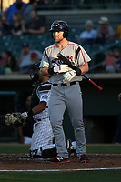 Michael Gettys (28) of the Lake Elsinore Storm bats against the Lancaster JetHawks at The Hanger on June 14, 2017 in Lancaster, California. Lancaster defeated Lake Elsinore, 4-0. (Larry Goren/Four Seam Images)