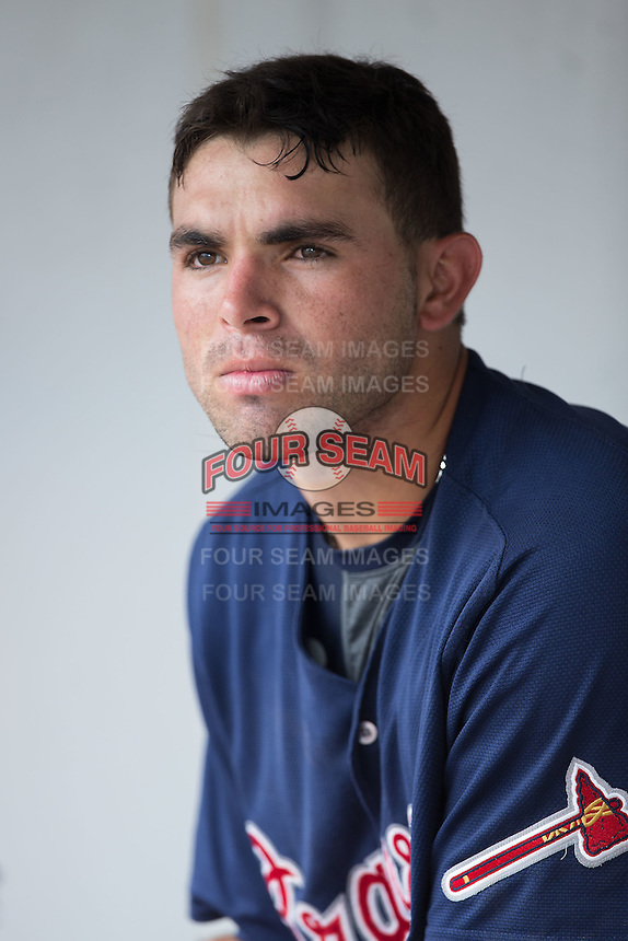 Jose Peraza (1) of the Gwinnett Braves in the dugout during the game against the Charlotte Knights at BB&T BallPark on July 3, 2015 in Charlotte, North Carolina.  The Braves defeated the Knights 11-4 in game one of a day-night double header.  (Brian Westerholt/Four Seam Images)