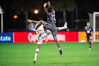 LAKE BUENA VISTA, FL - AUGUST 06: Raheem Edwards #44 of Minnesota United FC battles for the ball during a game between Orlando City SC and Minnesota United FC at ESPN Wide World of Sports on August 06, 2020 in Lake Buena Vista, Florida.