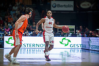 VALENCIA, SPAIN - NOVEMBER 18: Morris Curry, Sam Van Brossom during EUROCUP match between Valencia Basket Club and CAI SLUC Nancy at Fonteta Stadium on November 18, 2015 in Valencia, Spain