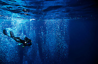 France marseille diver near the surface swimming towards a wall of bubbles