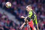 Bas Dost of Sporting CP (top) fights for the ball with Juan Francisco Torres Belen, Juanfran, of Atletico de Madrid (bottom) during the UEFA Europa League quarter final leg one match between Atletico Madrid and Sporting CP at Wanda Metropolitano on April 5, 2018 in Madrid, Spain. Photo by Diego Souto / Power Sport Images