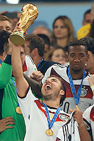 Mario Gotze of Germany lifts the World Cup trophy after winning the 2014 final