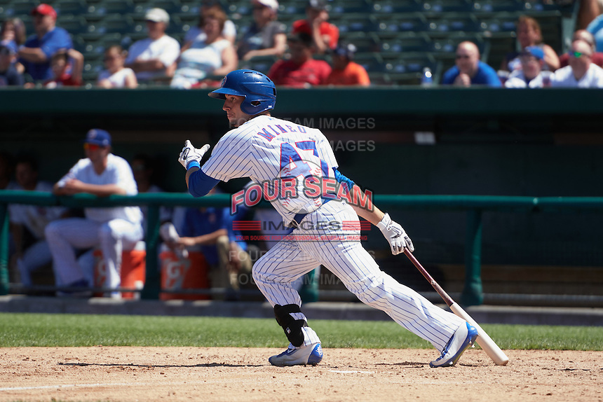 South Bend Cubs catcher Alberto Mineo (47) game winning base hit during the first game of a doubleheader against the Peoria Chiefs on July 25, 2016 at Four Winds Field in South Bend, Indiana.  South Bend defeated Peoria 9-8.  (Mike Janes/Four Seam Images)