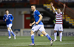 Hamilton Accies v St Johnstone …03.03.21   Fountain of Youth Stadium   SPFL<br />Guy Melamed celebrates his goal<br />Picture by Graeme Hart.<br />Copyright Perthshire Picture Agency<br />Tel: 01738 623350  Mobile: 07990 594431
