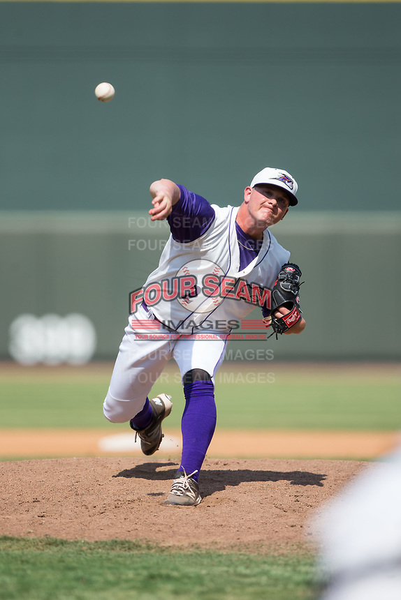 Winston-Salem Dash relief pitcher Matt Foster (2) delivers a pitch to the plate against the Potomac Nationals at BB&T Ballpark on August 6, 2017 in Winston-Salem, North Carolina.  The Nationals defeated the Dash 4-3 in 10 innings.  (Brian Westerholt/Four Seam Images)