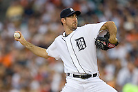 Detroit Tigers starting pitcher Justin Verlander #35 in action against the New York Yankees at Comerica Park April 27, 2009 in Detroit, Michigan.  Photo by Brian Westerholt / Four Seam Images