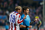Atletico de Madrid´s Fernando Torres argues with the referee during the UEFA Champions League round of 16 second leg match between Atletico de Madrid and Bayer 04 Leverkusen at Vicente Calderon stadium in Madrid, Spain. March 17, 2015. (ALTERPHOTOS/Victor Blanco)