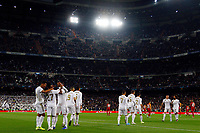 Real Madrid team celebrates after scoring a goal during UEFA Champions League match, groups between Real Madrid and Galatasaray SK at Santiago Bernabeu Stadium in Madrid, Spain. November, Wednesday 06, 2019.(ALTERPHOTOS/Manu R.B.)<br /> Champions League 2019/2020  <br /> Real Madrid - Galatasaray<br /> Foto Alterphotos / Insidefoto <br /> ITALY ONLY