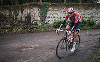 Frederik Frison (BEL/Lotto-Soudal) on the Chemin de Wihéries cobble section (Honelles)<br /> <br /> GP Le Samyn 2017 (1.1)