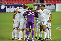 WASHINGTON, DC - SEPTEMBER 27: New England Revolution getting in the huddle during a game between New England Revolution and D.C. United at Audi Field on September 27, 2020 in Washington, DC.