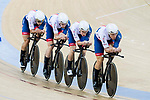 The team of Great Britain with Steven Burke, Andrew Tennant, Joseph Truman and Oliver Wood compete in the Men's Team Pursuit - Qualifying match as part of the 2017 UCI Track Cycling World Championships on 12 April 2017, in Hong Kong Velodrome, Hong Kong, China. Photo by Victor Fraile/ Power Sport Images