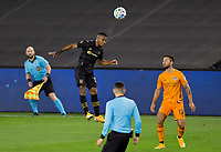 CARSON, CA - OCTOBER 28: Mohamed El-Munir #13 of LAFC with a head ball during a game between Houston Dynamo and Los Angeles FC at Banc of California Stadium on October 28, 2020 in Carson, California.