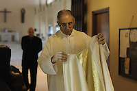 Dressing before the march.....Blessing and First Worship of ST. Petrus and Paulus Cathedral (AKA World's largest wooden cathedral)