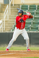 Art Charles (24) of the Lakewood BlueClaws at bat against the Kannapolis Intimidators at CMC-Northeast Stadium on August 13, 2013 in Kannapolis, North Carolina.  The Intimidators defeated the BlueClaws 12-8.  (Brian Westerholt/Four Seam Images)