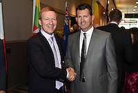Hon Dr Jonathan Coleman and Andy Martin CEO of NZ Football. Official Draw for the FIFA U 20 Football World Cup, New Zealand 2015. Sky City, Auckland. Tuesday 10 February 2015. Copyright photo: Andrew Cornaga / www.photosport.co.nz