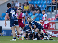 4th June 2021; AJ Bell Stadium, Salford, Lancashire, England; English Premiership Rugby, Sale Sharks versus Harlequins; Marland Yarde of Sale Sharks is tackled Faf de Klerk of Sale Sharks clears the ball