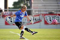 Western New York Flash goalkeeper Ashlyn Harris (24). The Western New York Flash defeated Sky Blue FC 2-0 during a Women's Professional Soccer (WPS) match at Yurcak Field in Piscataway, NJ, on July 17, 2011.