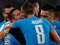 Calcio, Champions League Gruppo B: Napoli vs Benfica. Napoli, stadio San Paolo, 28 settembre 2016. <br /> Napoli's Dries Mertens, left, celebrates after scoring his second goal during the Champions League Group B soccer match between Napoli and Benfica at the Naples' San Paolo stadium, 28 September 2016. Napoli won 4-2.<br /> UPDATE IMAGES PRESS/Isabella Bonotto