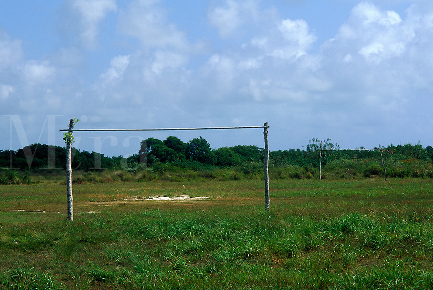 Makeshift soccer field and goal posts, Ambergris Caye, Belize<br />