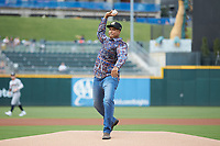 Former New York Yankee great Bernie Williams throws out a ceremonial first pitch prior to the International League game between the Scranton/Wilkes-Barre RailRiders and the Charlotte Knights at BB&T BallPark on August 13, 2019 in Charlotte, North Carolina. The Knights defeated the RailRiders 15-1. (Brian Westerholt/Four Seam Images)