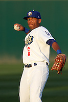 Leon Landry #6 of the Rancho Cucamonga Quakes throws before a game against the Inland Empire 66'ers at The Epicenter on April 7, 2012 in Rancho Cucamonga,California. Rancho Cucamonga defeated Inland Empire 5-4.(Larry Goren/Four Seam Images)
