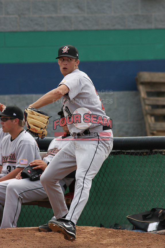 Jordan Lyles of the Greeneville Astros warming up before a game .against the Princeton Devil Rays in an Appalachian League game at Hunnicutt Field in Princeton, WV on July 20, 2008