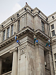 Cleaners On The Ropes, Hankou (Hankow) Bund Building.