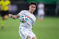 LAKE BUENA VISTA, FL - JULY 31: Tristan Blackmon #27 of LAFC runs with the ball during a game between Orlando City SC and Los Angeles FC at ESPN Wide World of Sports on July 31, 2020 in Lake Buena Vista, Florida.