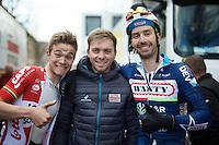 mates Tosh Van der Sande (BEL/Lotto-Soudal) post-race,  Kris Boeckmans (who didn't race, but just visited his team) & Kenny De Haes (BEL/Wanty-Groupe Gobert) post-race<br /> <br /> 3-daagse van West-Vlaanderen 2016<br /> stage1: Bruges-Harelbeke 176km