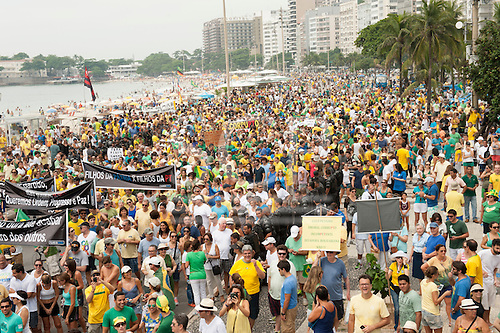 Protesters carry banners, Rio de Janeiro, Brazil, 15th March 2015. Demonstration against President Dilma Rousseff.