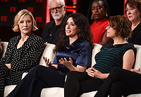 """PASADENA, CA - JANUARY 9: (L-R Front Row) Executive Producer/cast member Cate Blanchett, Creator/Executive Producer/Writer Dahvi Waller, Executive Producer/Director Anna Boden, (L-R Back Row) cast members John Slattery, Uzo Aduba, and Margo Martindale attend the panel for """"Mrs. America"""" during the FX Networks presentation at the 2020 TCA Winter Press Tour at the Langham Huntington on January 9, 2020 in Pasadena, California. (Photo by Frank Micelotta/FX Networks/PictureGroup)"""