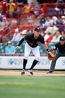 Erie SeaWolves first baseman Josh Lester (44) in front of first base umpire Takahito Matsuda during a game against the New Hampshire Fisher Cats on June 20, 2018 at UPMC Park in Erie, Pennsylvania.  New Hampshire defeated Erie 10-9.  (Mike Janes/Four Seam Images)