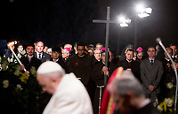 Pope Francis presides over the Via Crucis (Way of the Cross) on Good Friday, in front of the Colosseum, in Rome, March 30, 2018.<br /> UPDATE IMAGES PRESS/Riccardo De Luca<br /> <br /> STRICTLY ONLY FOR EDITORIAL USE