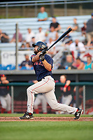 Lowell Spinners left fielder Devlin Granberg (35) at bat during a game against the Auburn Doubledays on July 13, 2018 at Falcon Park in Auburn, New York.  Lowell defeated Auburn 8-5.  (Mike Janes/Four Seam Images)