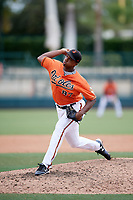 Baltimore Orioles pitcher Hector Guance (87) delivers a pitch during an Instructional League game against the Tampa Bay Rays on October 2, 2017 at Ed Smith Stadium in Sarasota, Florida.  (Mike Janes/Four Seam Images)