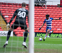 2nd April 2021, Oakwell Stadium, Barnsley, Yorkshire, England; English Football League Championship Football, Barnsley FC versus Reading; Ovie Ejaria of Reading takes a shot against Bradley Collins of Barnsley