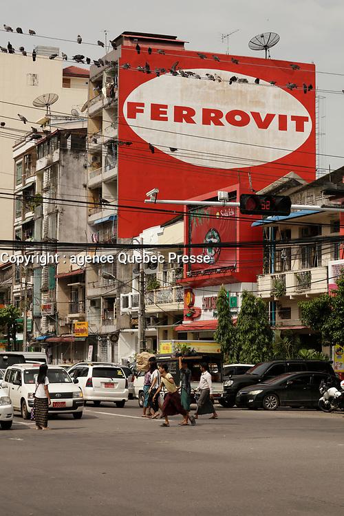 Ferrovit advertising,<br /> Yangon on a sunny day of July 2017