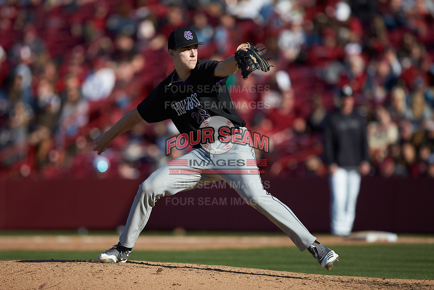 Holy Cross Crusaders relief pitcher Nate Chudy (28) in action against the South Carolina Gamecocks at Founders Park on February 15, 2020 in Columbia, South Carolina. The Gamecocks defeated the Crusaders 9-4.  (Brian Westerholt/Four Seam Images)