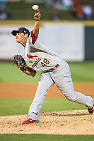 Memphis Redbirds pitcher Marco Gonzales (48) delivers a pitch to the plate during Pacific Coast League game against the Round Rock Express on April 21, 2015 at the Dell Diamond in Round Rock, Texas. Round Rock defeated Memphis 2-1. (Andrew Woolley/Four Seam Images)