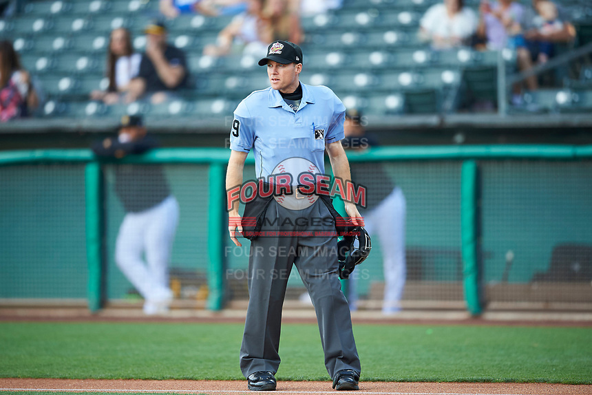 Umpire Lewis Williams handles the calls behind the plate during the game between the Salt Lake Bees and the Round Rock Express at Smith's Ballpark on June 10, 2019 in Salt Lake City, Utah. The Bees defeated the Express 9-7. (Stephen Smith/Four Seam Images)