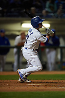Rancho Cucamonga Quakes second baseman Omar Estevez (21) starts down the first base line during a California League game against the Lake Elsinore Storm at LoanMart Field on May 19, 2018 in Rancho Cucamonga, California. Lake Elsinore defeated Rancho Cucamonga 10-7. (Zachary Lucy/Four Seam Images)