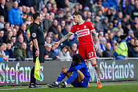 Muhamed Besic of Middlesbrough pleads his case to the referee's assistant after a challenge on Armand Traore of Cardiff City (below) during the Sky Bet Championship match between Cardiff City and Middlesbrough at the Cardiff City Stadium, Cardiff, Wales on 17 February 2018. Photo by Mark Hawkins / PRiME Media Images.