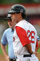 Lowell Spinners manager Bruce Crabbe #26prior to a game versus the State College Spikes at LeLacheur Park in Lowell, Massachusetts on July 29, 2012. (Ken Babbitt/Four Seam Images)