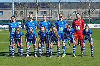 Team Gent ( Jolet Lommen (9) of AA Gent , Ella Van Kerkhoven (3) of AA Gent , Feli Delacauw (44) of AA Gent , Lobke Loonen (19) of AA Gent , goalkeeper Nicky Evrard (1) of AA Gent and Jasmien Mathys (12) of AA Gent , Rkia Mazrouai (2) of AA Gent , Emma Van Britsom (6) of AA Gent , Lyndsey Van Belle (14) of AA Gent , Heleen Jaques (4) of AA Gent , Chloe Vande Velde (10) of AA Gent ) pictured before a female soccer game between  AA Gent Ladies and RSC Anderlecht on the 17th matchday of the 2020 - 2021 season of Belgian Scooore Womens Super League , saturday 20 th of March 2021 in Oostakker , Belgium . PHOTO SPORTPIX.BE | SPP | STIJN AUDOOREN