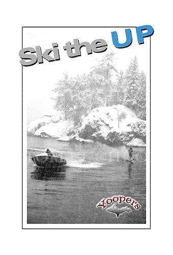 Winter water skiing?  In a snowstorm? On Lake Superior? Must be Yoopers.<br /> <br /> This photo is also available as a fine art poster at www.buchkoe.com/poster